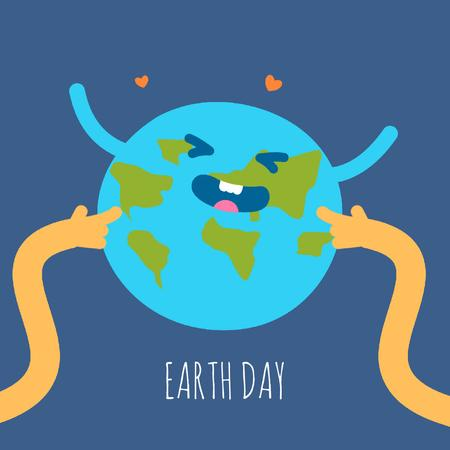 Hands Tickling Planet Earth Animated Post Modelo de Design