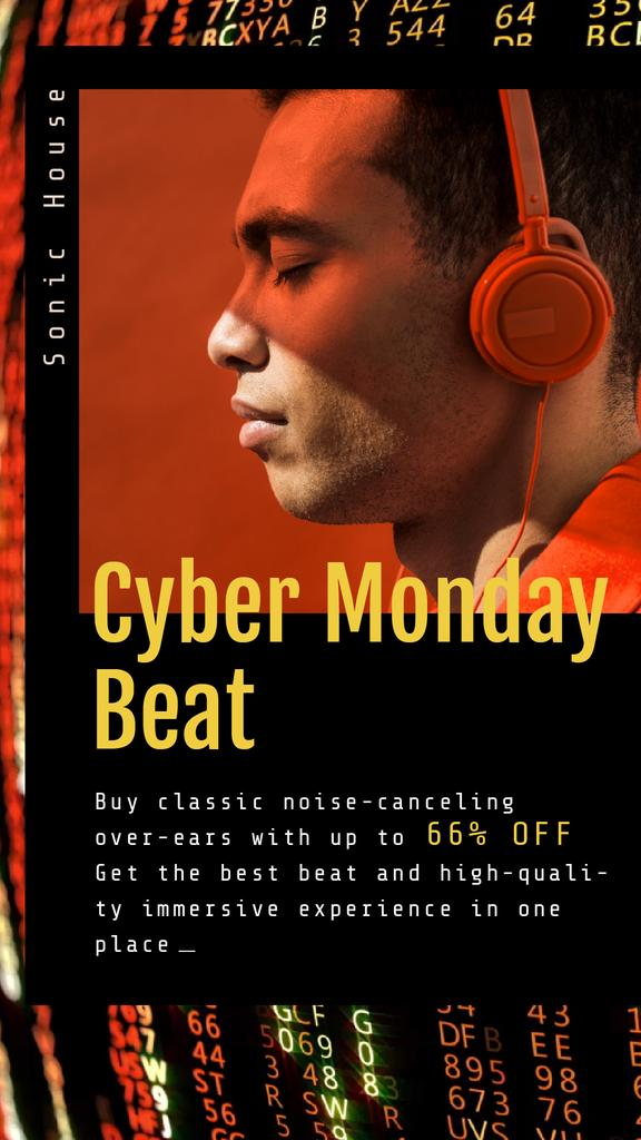 Cyber Monday Sale Man in Headphones — Create a Design