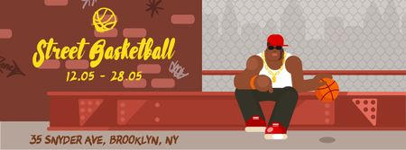 Modèle de visuel African american man playing basketball - Facebook Video cover
