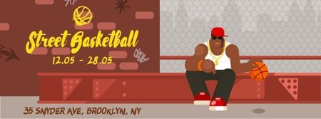 Ontwerpsjabloon van Facebook Video cover van African american man playing basketball