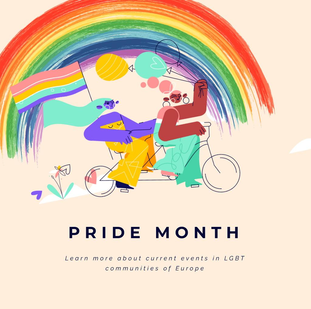 Women riding bicycle with rainbow flag — Create a Design