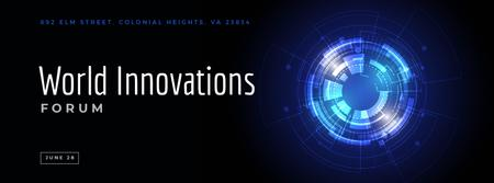 Designvorlage Innovations forum invitation on Glowing cyber circle für Facebook Video cover