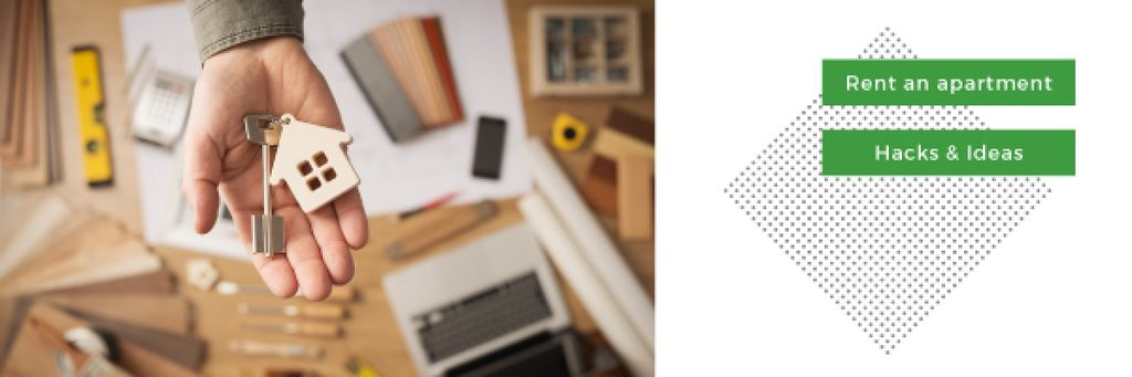 Rent an apartment concept with hand holding house key — ein Design erstellen
