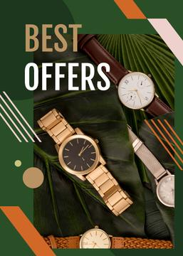 Watches Ad on Green Leaves | Flyer Template