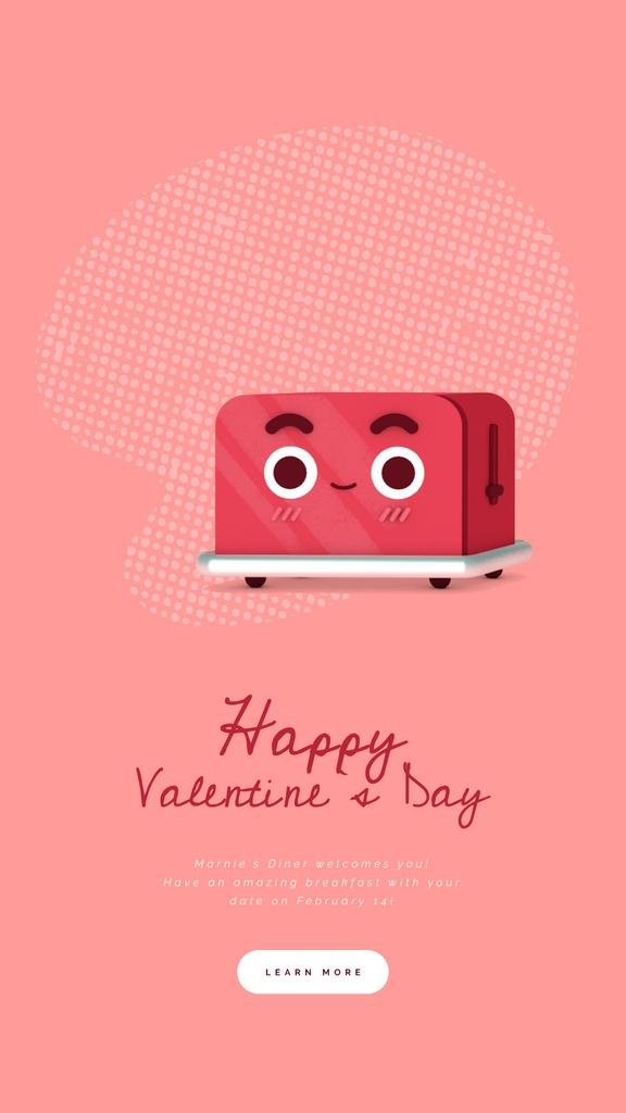 Valentine's Day Cute Red Toaster with Heart — Modelo de projeto