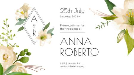Modèle de visuel Wedding Invitation Tender Flowers Frame - FB event cover