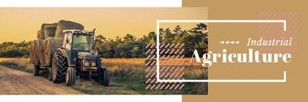 Agriculture with Tractor Working in Field Email header Modelo de Design