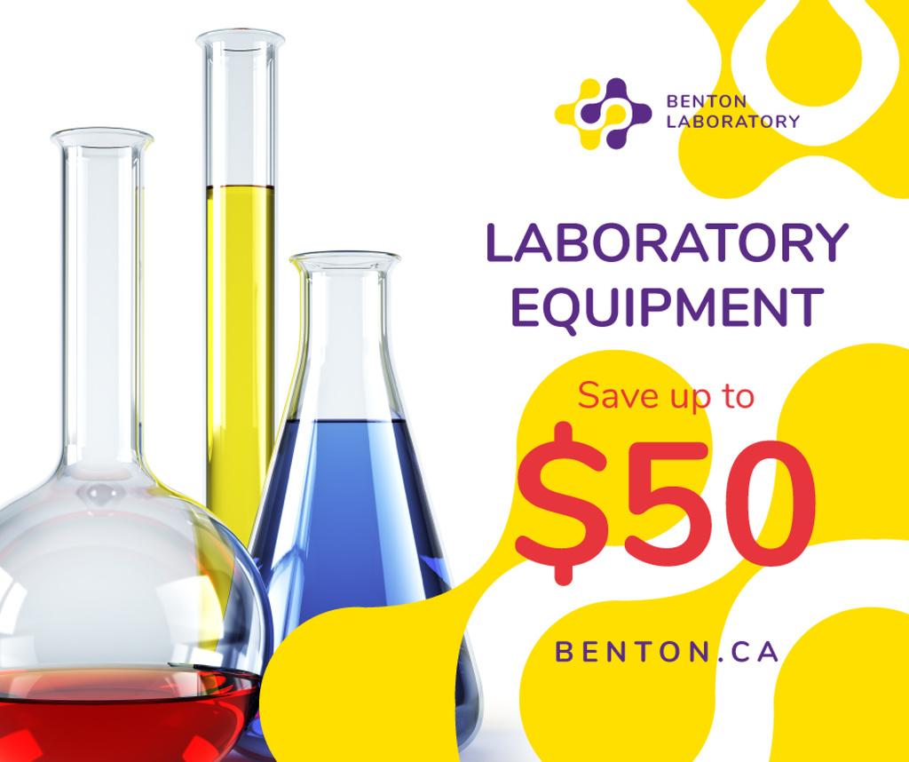Laboratory Equipment Sale Glass Flasks | Facebook Post Template — Создать дизайн