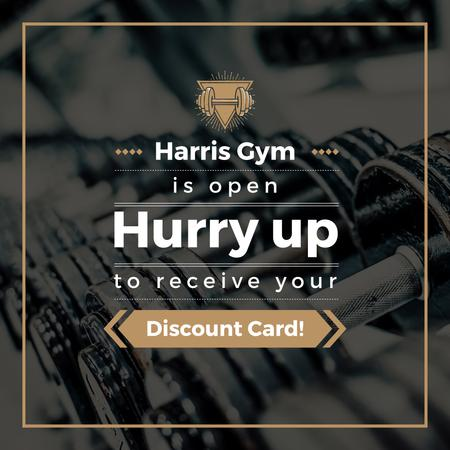 Modèle de visuel Gym Membership Offer with Dumbbells - Instagram AD