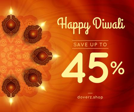 Happy Diwali Greeting Glowing Lamps Facebook Design Template
