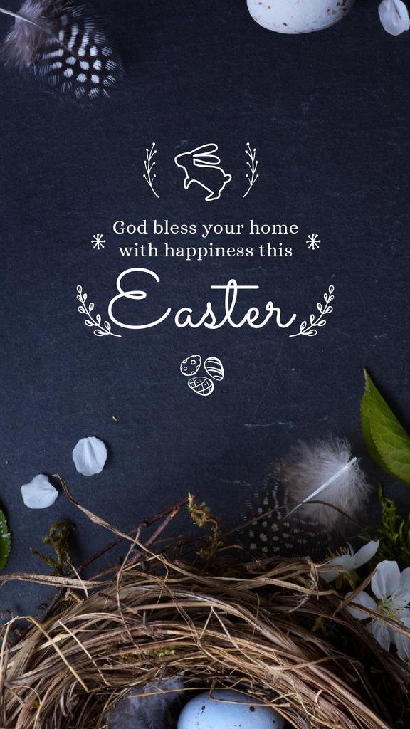 Easter Greeting with nest and eggs — Создать дизайн
