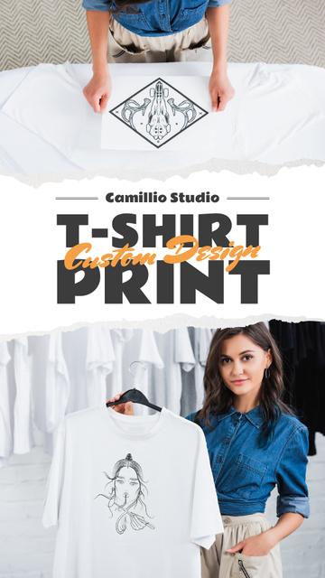 Custom Print Studio Ad Woman Holding T-shirt Instagram Story – шаблон для дизайна