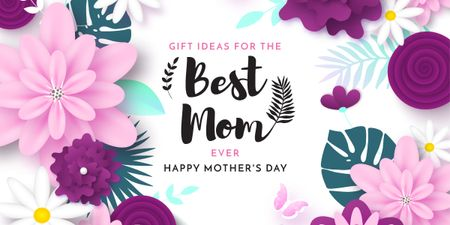 Happy Mother's Day Greeting on flowers Image Design Template