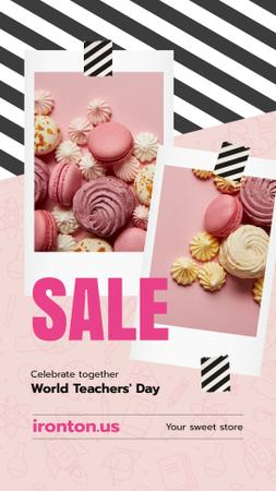 Ontwerpsjabloon van Instagram Story van World Teachers' Day Sale Sweet Cookies in Pink