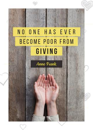 Plantilla de diseño de Charity Quote with Open Palms Flayer
