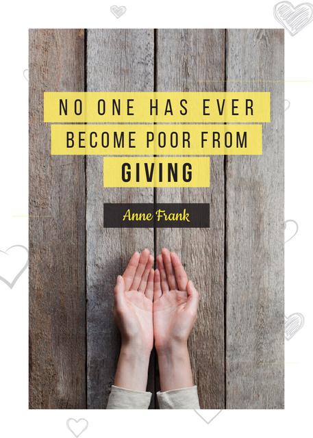 Ontwerpsjabloon van Flayer van Charity Quote with Open Palms