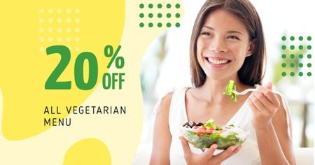 Plantilla de diseño de Woman Eating Healthy Meal Facebook AD