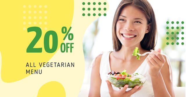 Woman Eating Healthy Meal Facebook AD Tasarım Şablonu