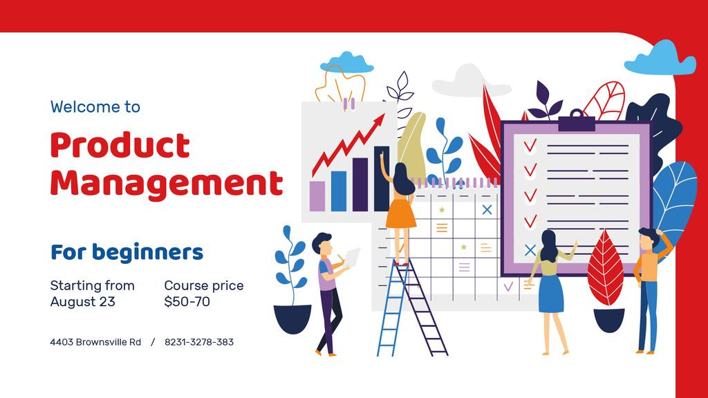 Plantilla de diseño de Business Courses announcement with Colleagues Working on Report FB event cover