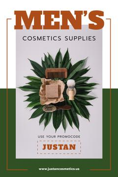 Men's Cosmetics Promotion Wooden Tools in Green | Pinterest Template
