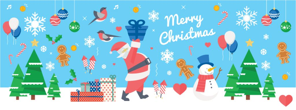 Christmas Holiday Greeting Santa Delivering Gifts | Facebook Cover Template — Crea un design