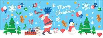 Christmas Holiday Greeting Santa Delivering Gifts | Facebook Cover Template