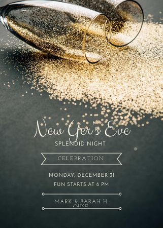Plantilla de diseño de New Year Party Shining Golden Glitter in Glasses Invitation