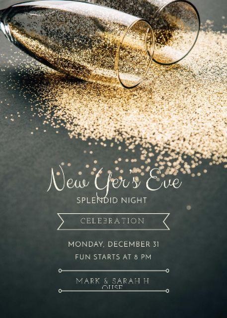 Plantilla de diseño de New Year Party Shining Golden Glitter in Glasses Invitation