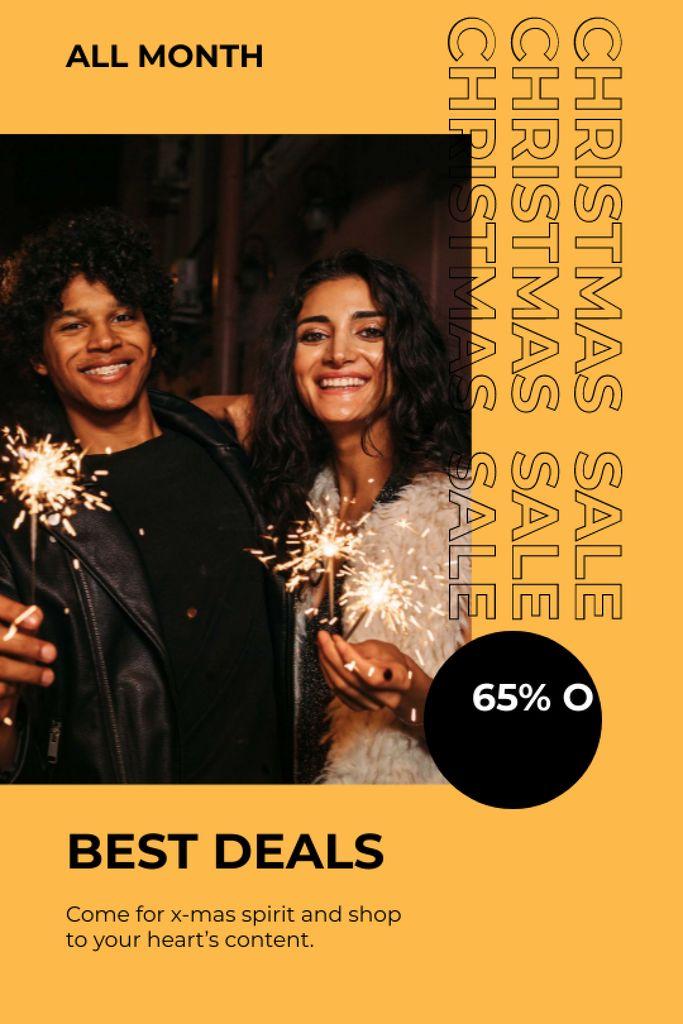 Couple with Sparkler for Christmas Sale — Créer un visuel