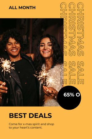 Template di design Couple with Sparkler for Christmas Sale Tumblr