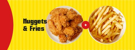 Fast food menu offer nuggets and fries Facebook cover Modelo de Design