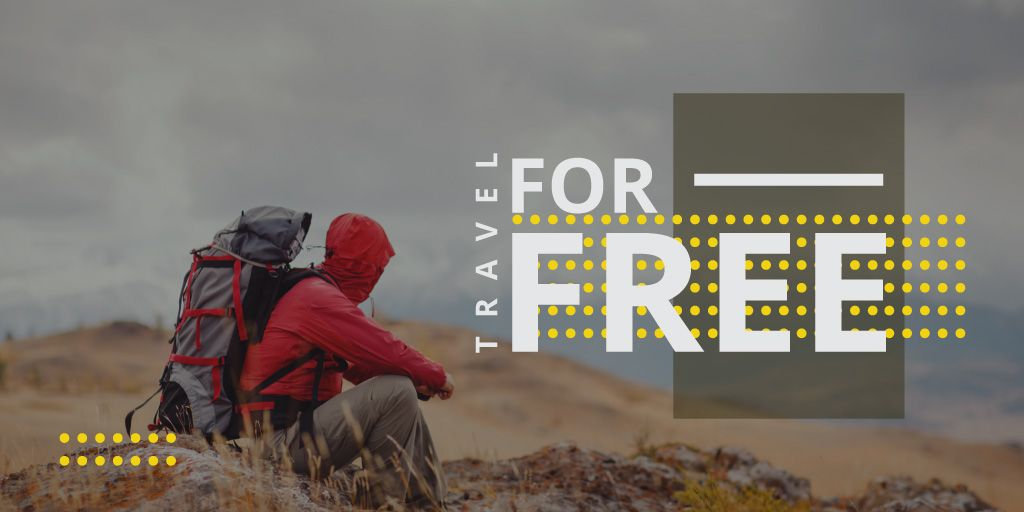 Travel Ad with hiker — Modelo de projeto
