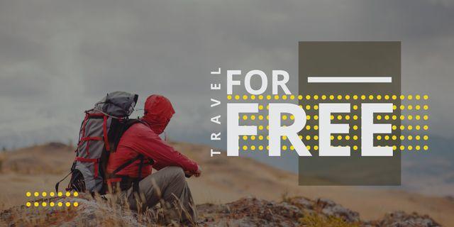 Ontwerpsjabloon van Twitter van Travel Ad with hiker