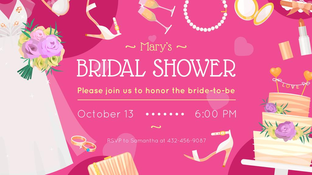 Bridal Shower invitation Wedding attributes in Pink FB event cover Design Template