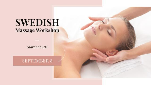 Modèle de visuel Woman at Swedish Massage Therapy - FB event cover