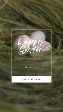 Easter Greeting Colored Eggs in Nest