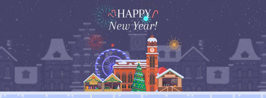 Fireworks over town on New Year's Eve — Maak een ontwerp