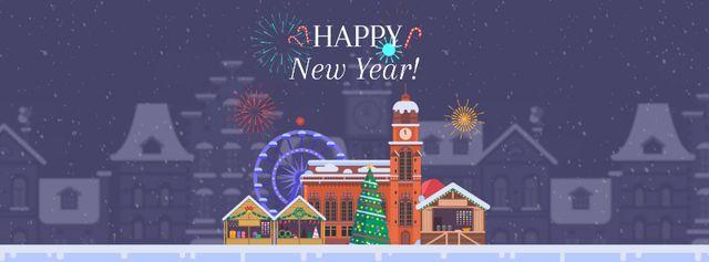 Plantilla de diseño de Fireworks over town on New Year's Eve Facebook Video cover