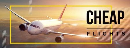 Cheap flights advertisement Facebook cover Tasarım Şablonu