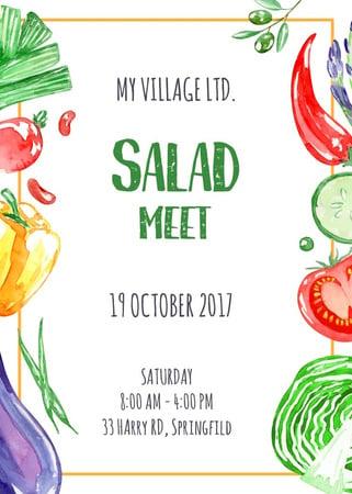 Salad meet with fresh Vegetables Flayer Tasarım Şablonu