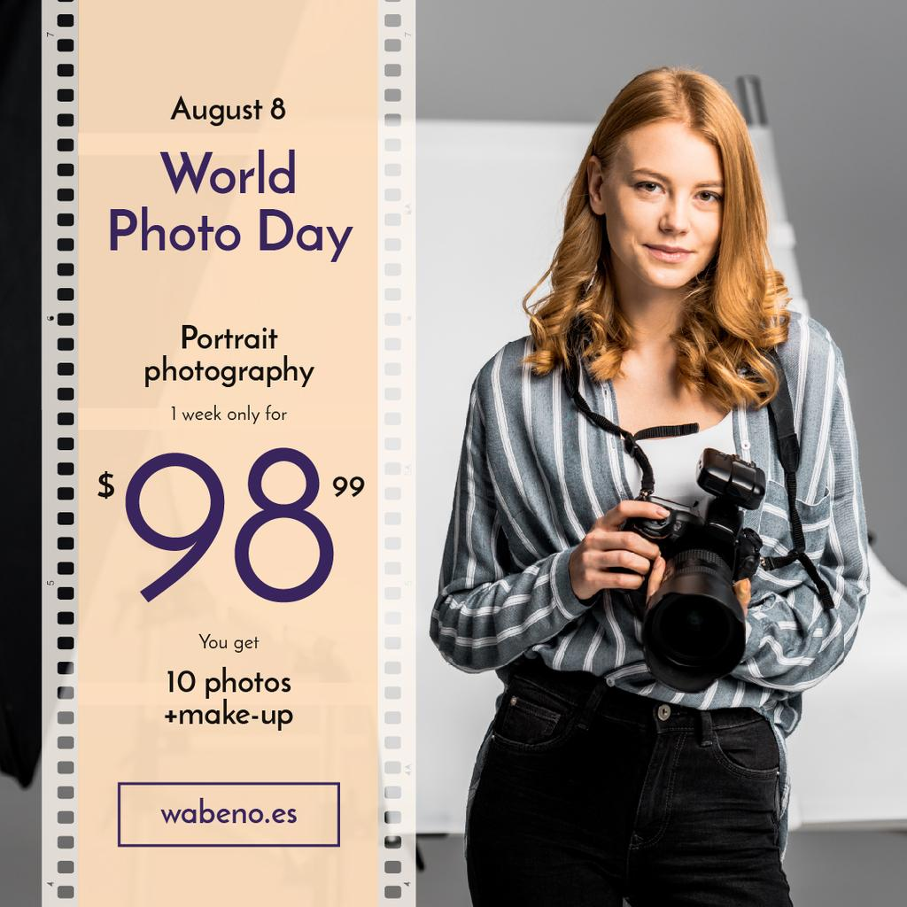 Photo Day Offer Woman with Professional Camera — Створити дизайн