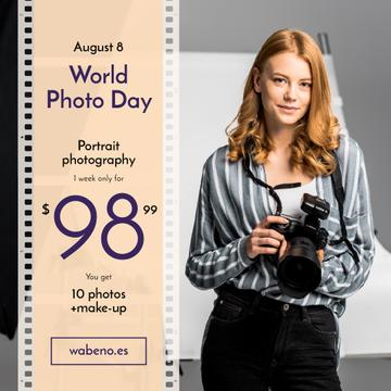 Photo Day Offer Woman with Professional Camera