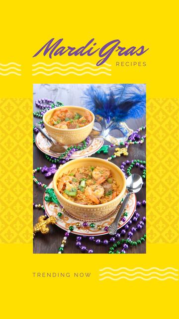 Plantilla de diseño de Mardi Gras tasty dinner Instagram Story