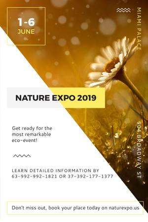 Plantilla de diseño de Nature Expo Announcement with Blooming Daisy Flower Pinterest