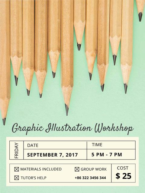 Illustration Workshop Graphite Pencils on Blue Poster US – шаблон для дизайна
