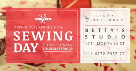 Designvorlage Sewing day event Annoucement für Facebook AD