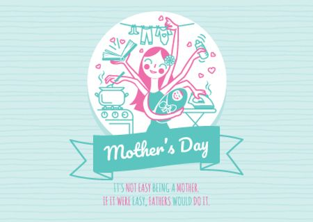 Happy Mother's Day with Happy Mom Postcardデザインテンプレート