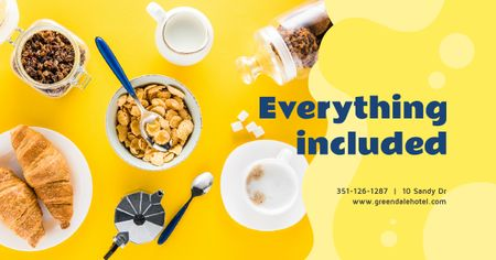 Template di design Cafe Offer Healthy Breakfast with Granola Facebook AD