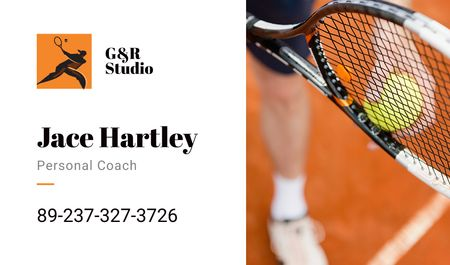 Personal tennis trainer Offer Business card Modelo de Design