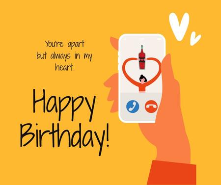 Ontwerpsjabloon van Facebook van Birthday Greeting on Phone during Quarantine